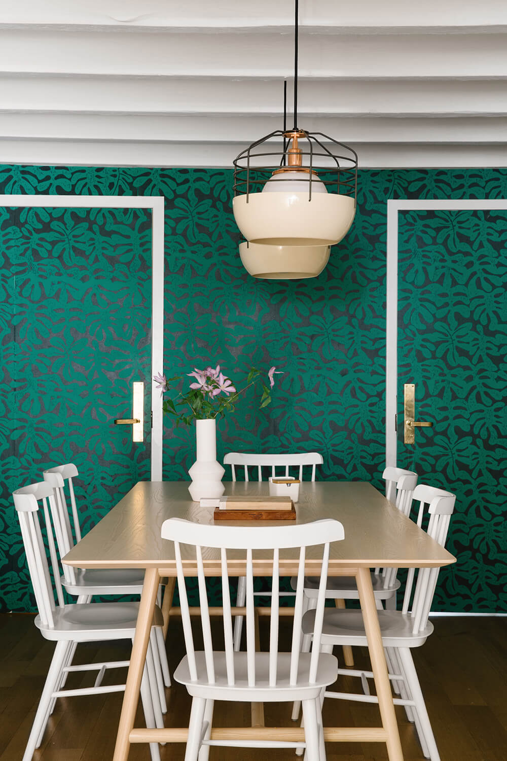 Cup of Jo dining room wallpaper green Brooklyn home tour design