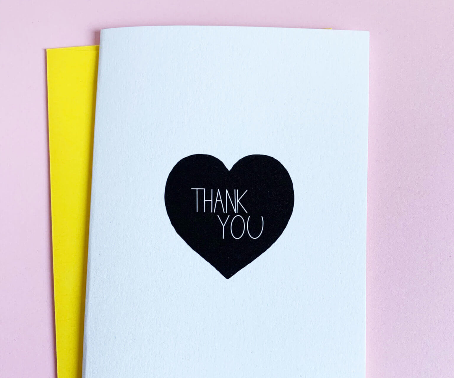 black heart thank you card