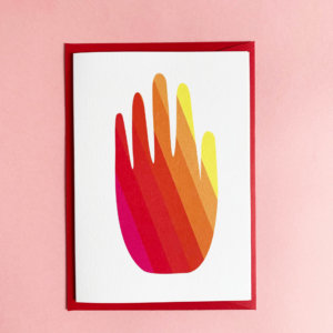 greeting card rainbow hand thank you card
