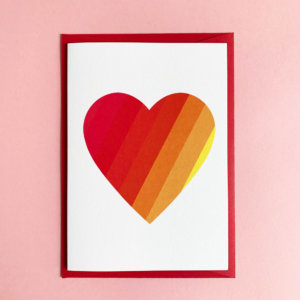 greeting card rainbow heart love